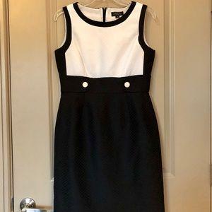 TAHARI black and white business casual dress